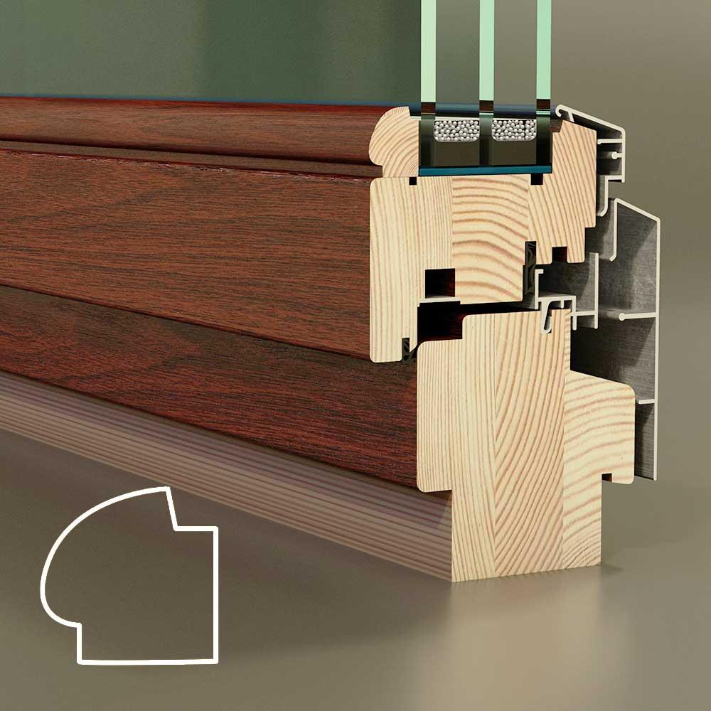скругленный штапик деревянного окна