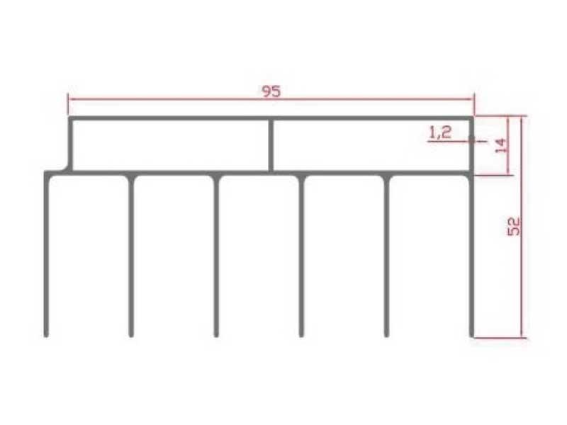 RS 101 - верхний направляющий профиль 5х