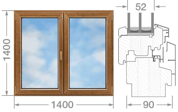 Дерево алюминиевое двустворчатое окно 1400x1400x90 сосна