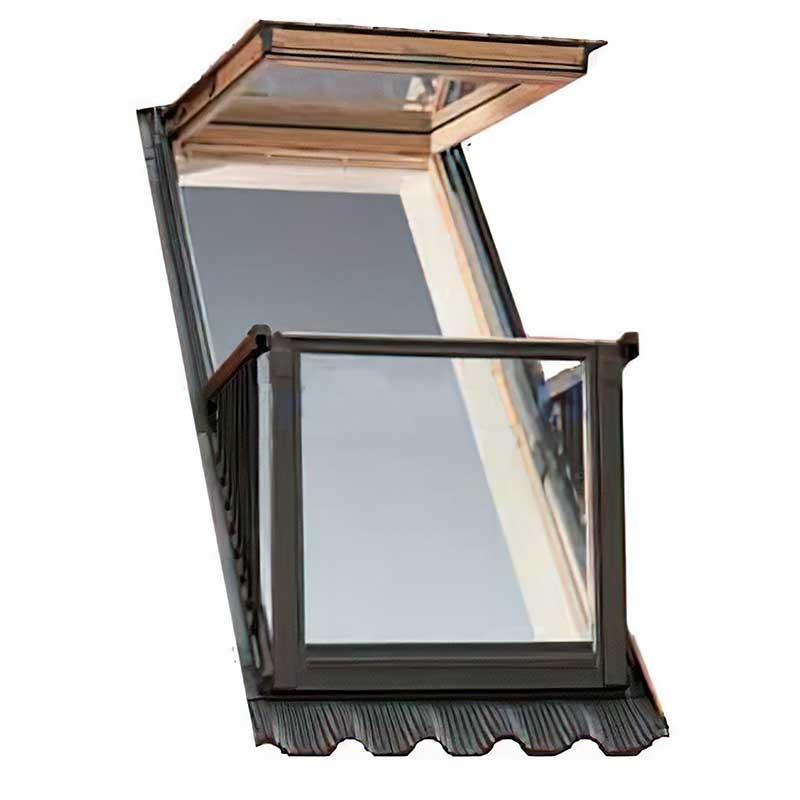 мансардное двухстворчатое открывное наружу окно