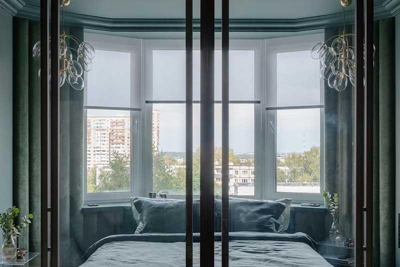Спальня-гостиная в фисташковом коконе